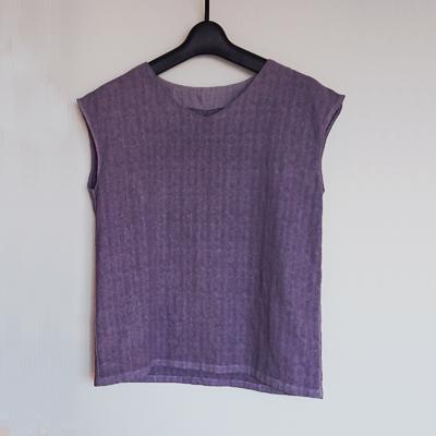 紫根染めのフレンチスリーブ