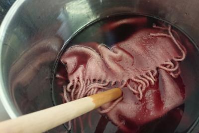 ブドウ液でマフラーを染色