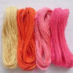 紅花染めの絹糸