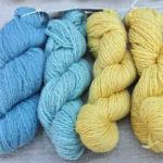 藍染とハナミズキ染めの黄色