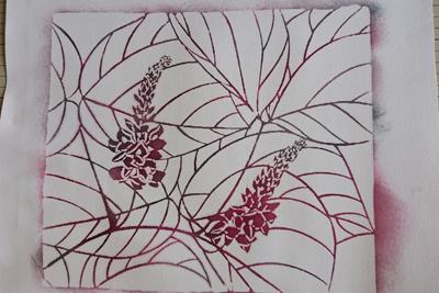 葛の花の型染め