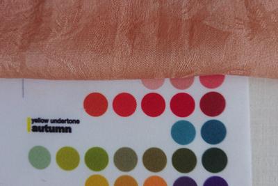 枇杷染めスカーフのオータムカラー色見本との比較