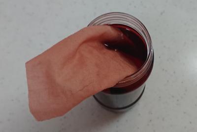 中和後の染液に入れたシーチング