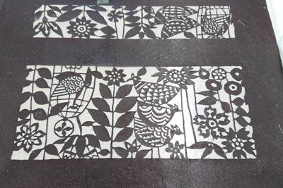 紗張りされた型紙