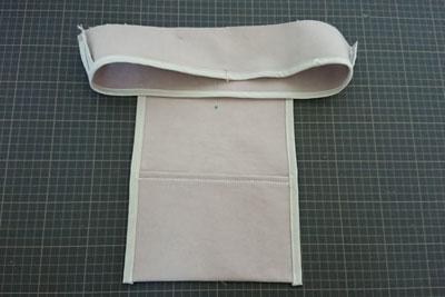 ポケットと内袋の縫い合わせ位置