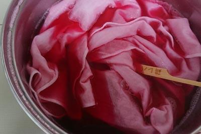 紫芋で布を染める