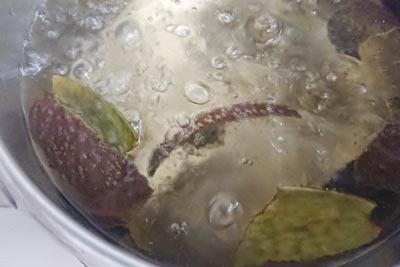 アボカド染液抽出の沸騰
