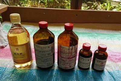 お酢と液体植物染料