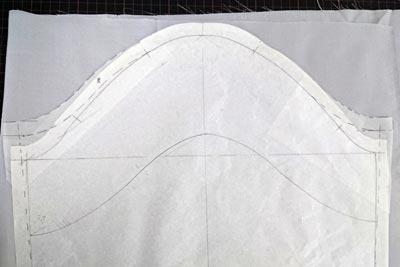 コートの袖の裏地の型紙