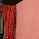 茜染めの刺し子糸やサラシ