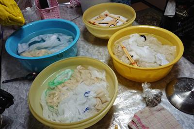 湯通しとの濃染剤処理