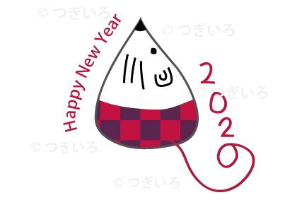 HappyNewYear2020ねずみ市松模様