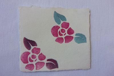 植物染めステンシルの椿の花