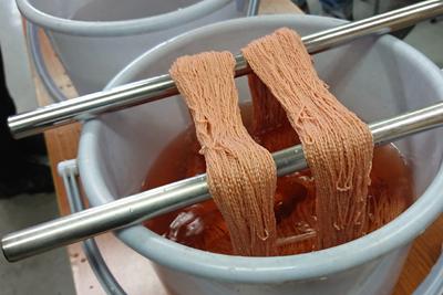 椿の枝でシルク糸染め