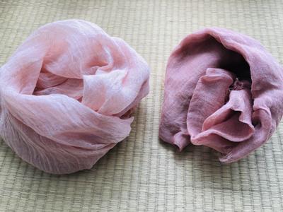 桜染めと枇杷染めの麻ストール
