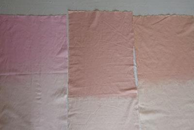 ピンク系の草木染め晒