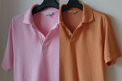 草木染めポロシャツ染色前後の色