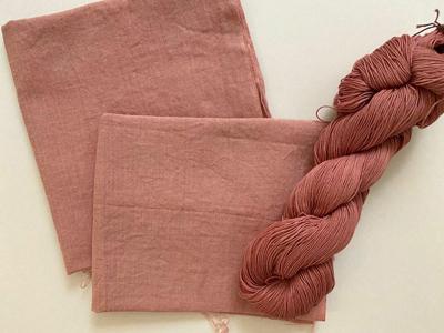 アボカド染め晒と綿糸乾燥後
