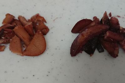 煮残った種の色比較