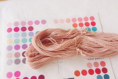ピンクの刺し子糸