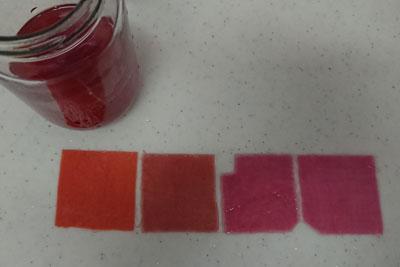 紫玉ねぎクエン酸抽出で染めた色