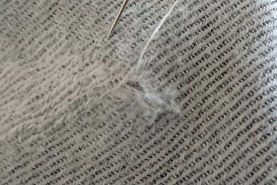 デニム地の綾織り補修