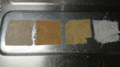 媒染後のテスト布