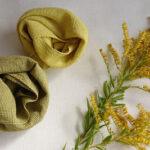 雑草、背高泡立草とその草木染め布